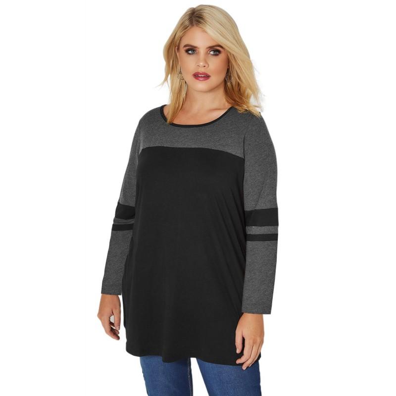 Black Charcoal Color Block Long Sleeve Plus Size Top