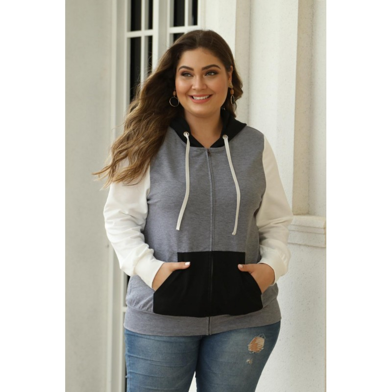 Black Colorblock Hooded Zip Plus Size Jacket
