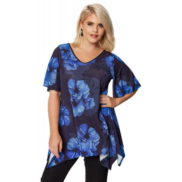 Black & Cobalt Blue Floral Plus Size Top