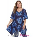Black & Cobalt Blue Floral Plus Size Top