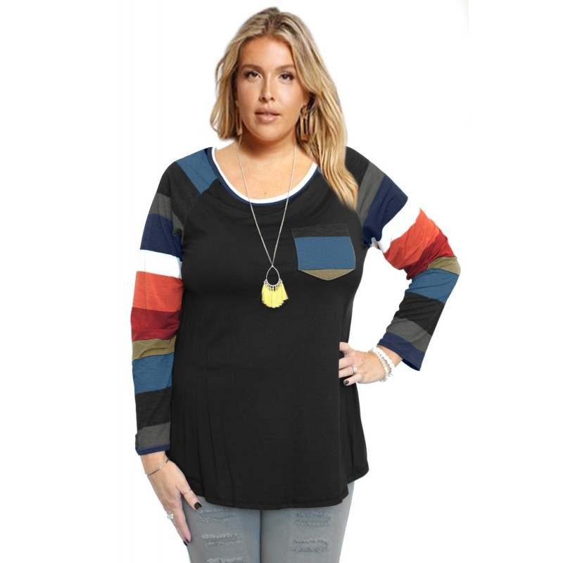 Autumn Chill Top With Front Pocket & Striped Contrast Sleeves In Black