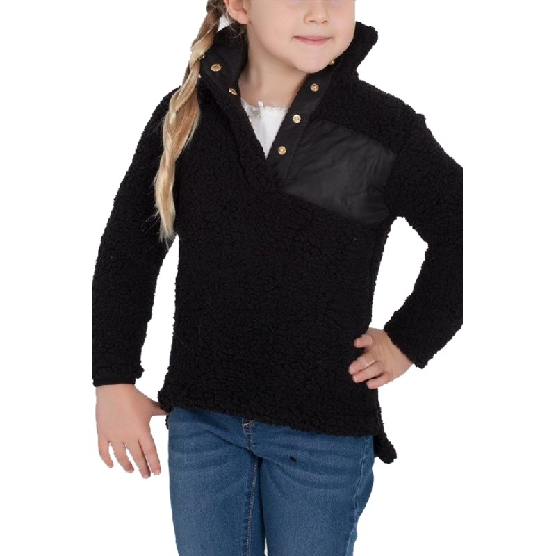 Black Sherpa Pullover for Little Girl