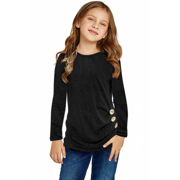 Black Little Girls Long Sleeve Buttoned Side Top