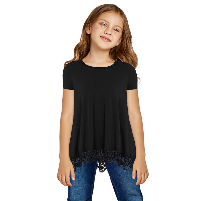 Black Girls Short-sleeved Top