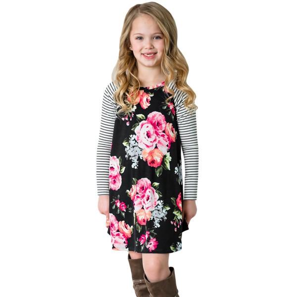 Black Spring Fling Floral Striped Sleeve Short Dress for Kids