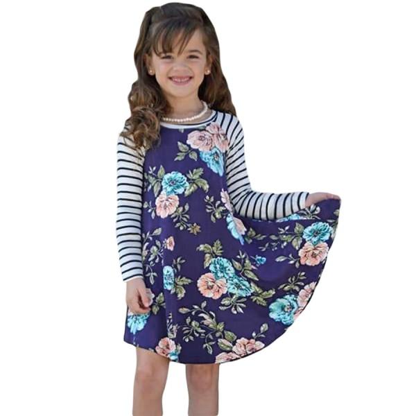 Blue Spring Fling Floral Striped Sleeve Short Dress for Kids