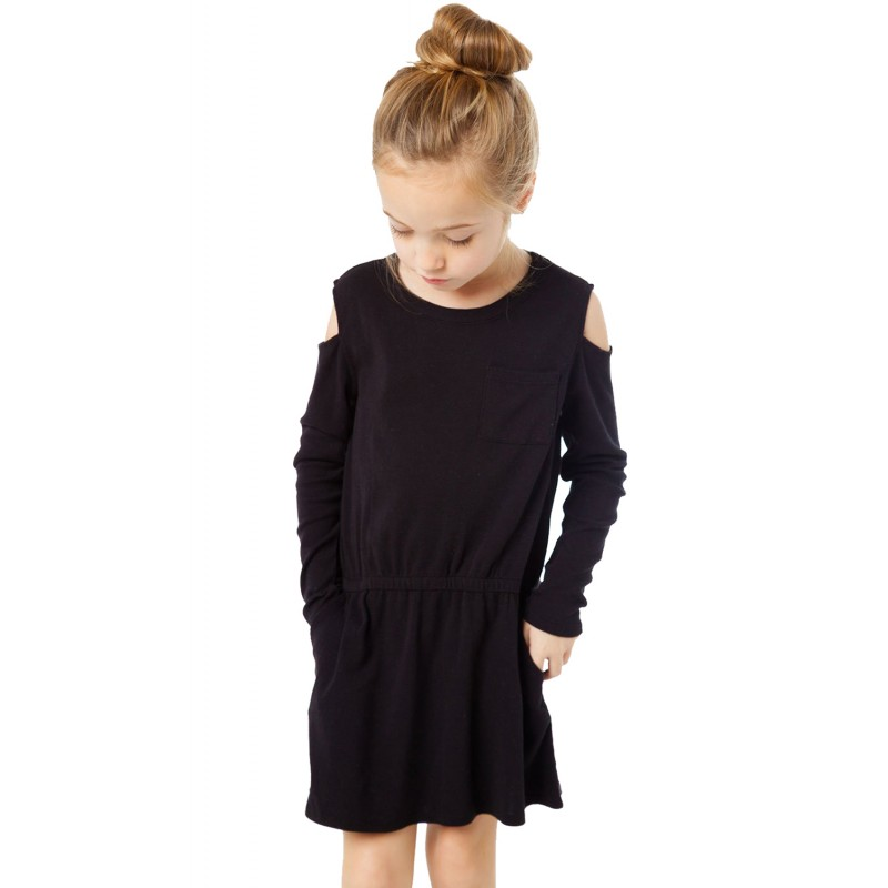 Black Girl's Long Sleeve Cold Shoulder Dress