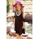 Black Ruffle Cold Shoulder Dress for Little Girls