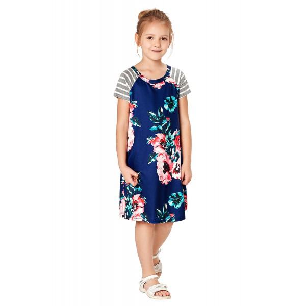 Blue Stripes Short Sleeve Floral Little Girl Dress