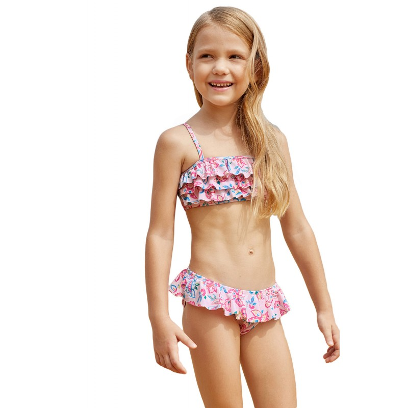 Blue Pink Multi-layer Ruffles Toddler Girls Bikini