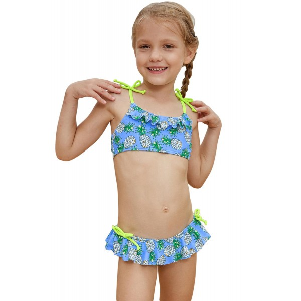 Pineapple Print Little Girls Bikini with Shoulder Straps