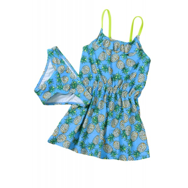 Blue Pineapple Print Little Girls Swimdress with Panty