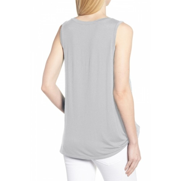 Crew Neck Knot Front Plain Pleated Tank Top Gray