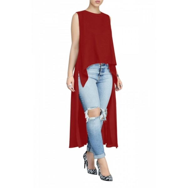 Crew Neck Sleeveless Split High Low Loose Plain Tank Top Ruby