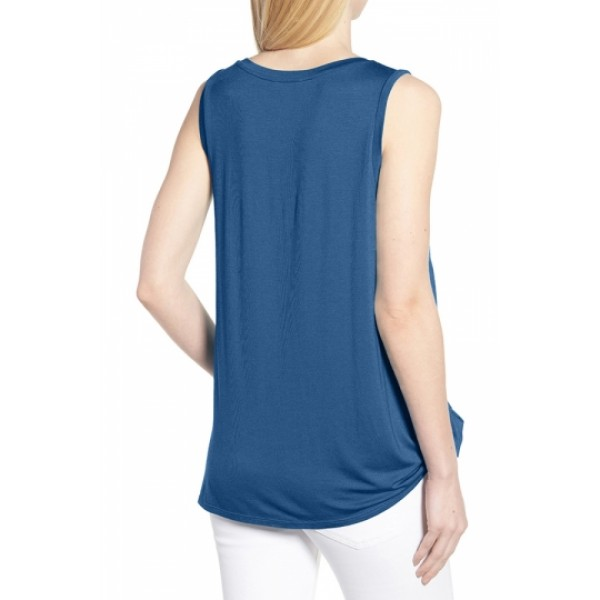 Crew Neck Knot Front Plain Tank Top Blue