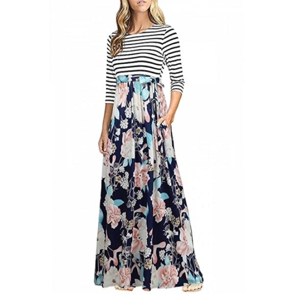 3/4 Sleeve Flower Print Side Pocket Striped Maxi Dress Navy Blue