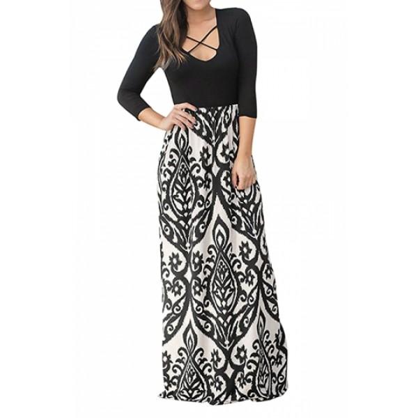 Boho 3/4 Sleeve Criss Cross Print Maxi Dress Khaki