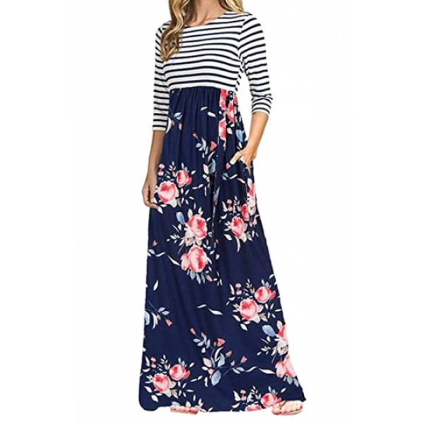 3/4 Sleeve Flower Print Side Pocket Striped Maxi Dress Blue