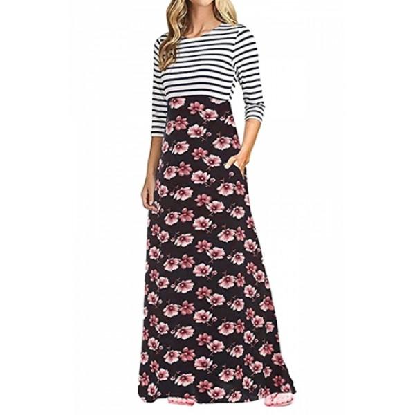 3/4 Sleeve Flower Print Side Pocket Striped Maxi Dress Pink