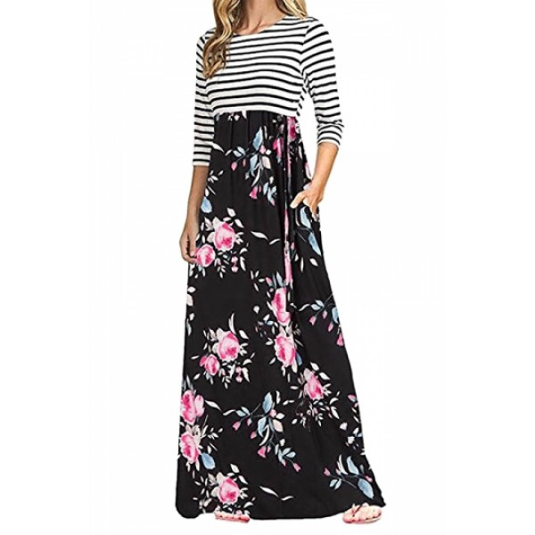 3/4 Sleeve Flower Print Side Pocket Striped Maxi Dress Black