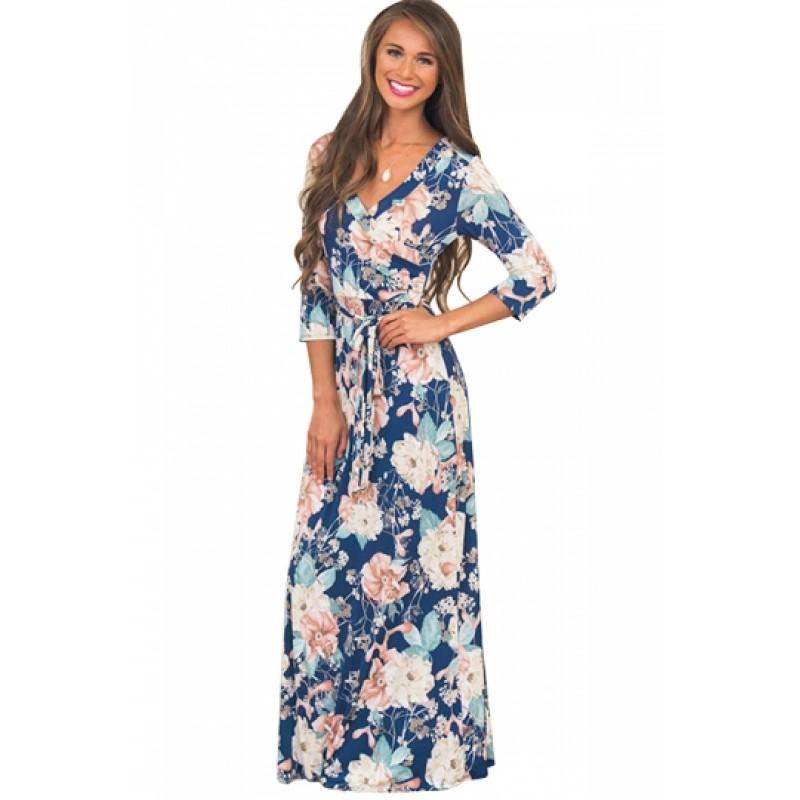 Boho V Neck 3/4 Sleeve Tie Waist Floral Print Wrap Maxi Dress Blue