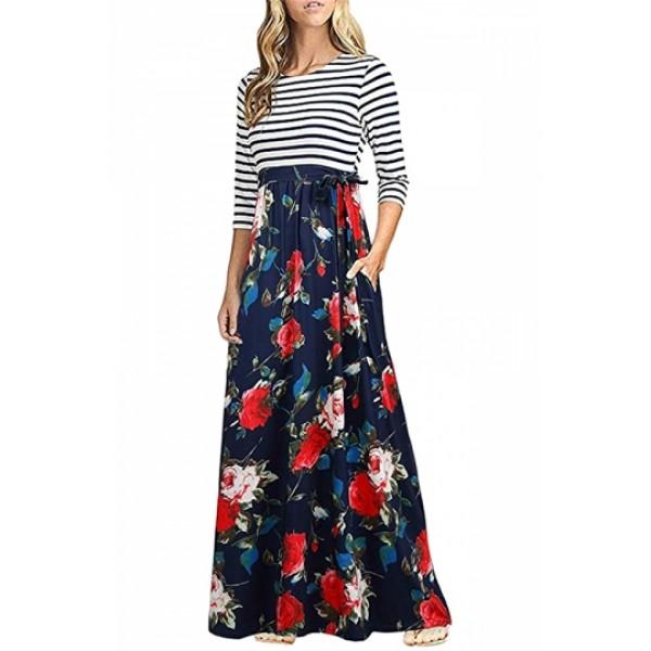 3/4 Sleeve Flower Print Side Pocket Striped Maxi Dress Red