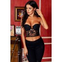 Black Lace Bustier Plunge Strapless Padded Crop Top