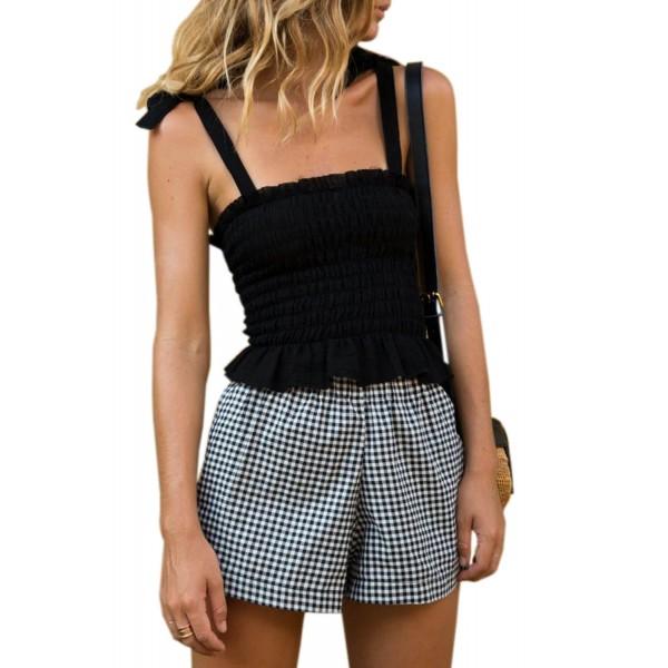 Black Frill Tie Shoulder Strap Vest