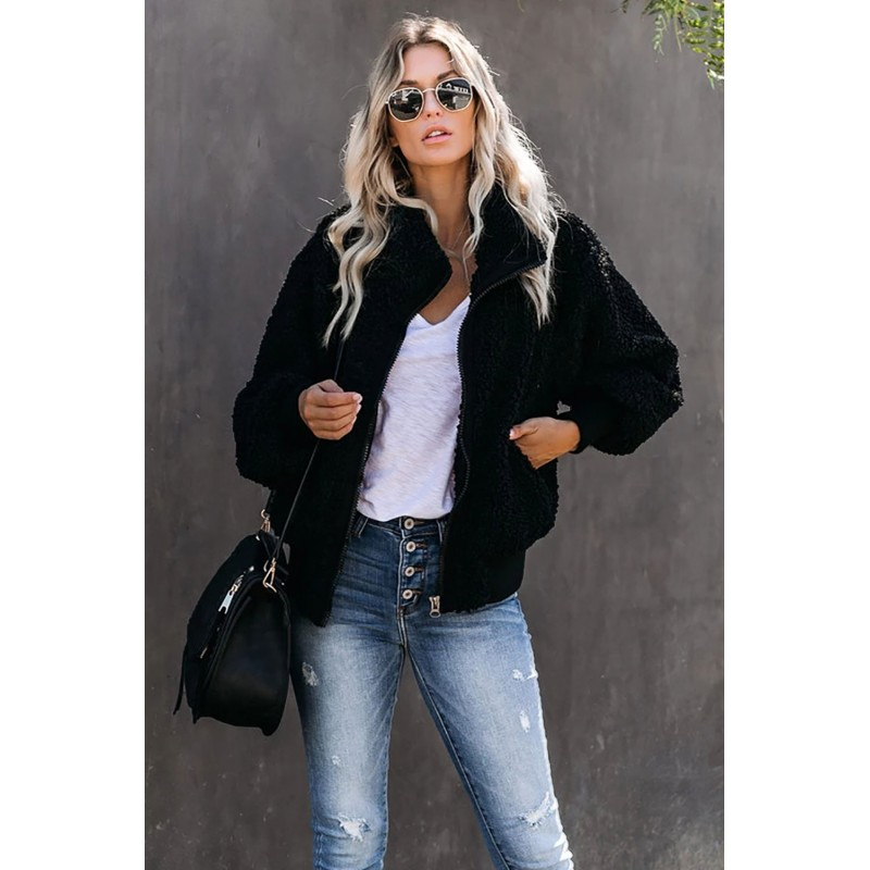 Black Cool For The Winter Pocketed Teddy Jacket