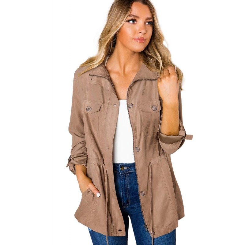 Brown Bottoned Pockets Jacket