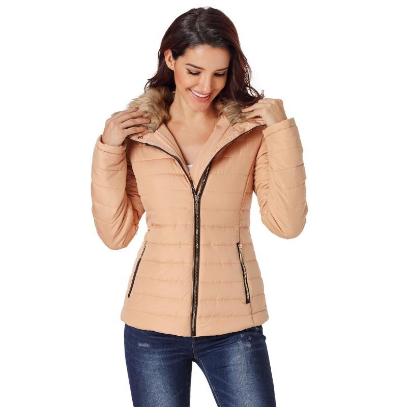 Camel Faux Fur Collar Trim Black Quilted Jacket