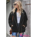 Black Breaker Pocketed Sherpa Statement Jacket
