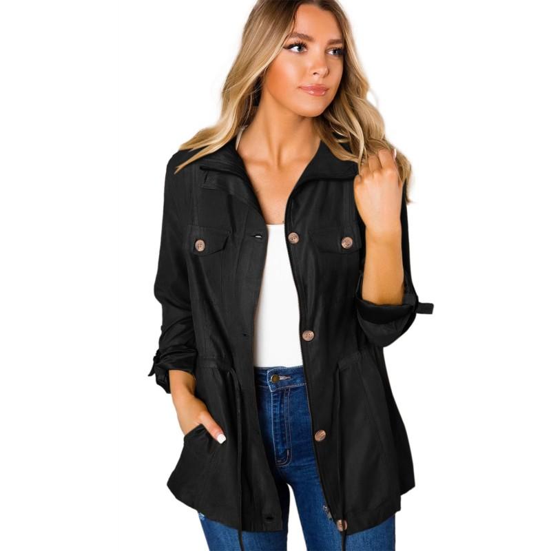Black Bottoned Pockets Jacket