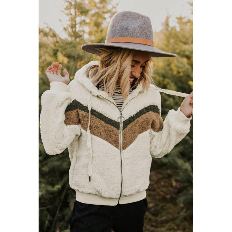 Beige Alfie Chevron Hoodie Sherpa Jacket