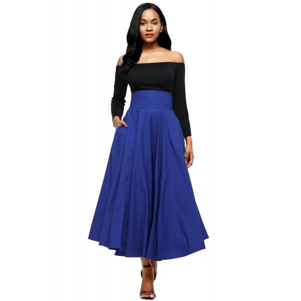 Blue Retro High Waist Pleated Belted Maxi Skirt