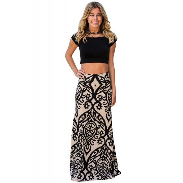Black Tendril Printed Maxi Skirt