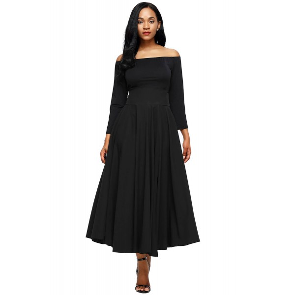 Black Retro High Waist Pleated Belted Maxi Skirt