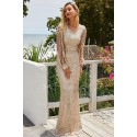 Apricot Sequin Fringe Sleeve Party Maxi Evening Dress