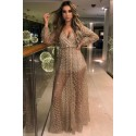 Apricot Glittering Checked Pattern Sheer Gown