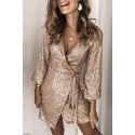 Apricot Sequin Wrap Dress with Sash
