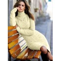 Apricot Cable Knit High Neck Sweater Dress