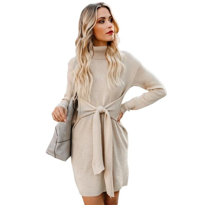 Apricot Long Sleeve Tie Waist Turtleneck Pullover Sweater Dress