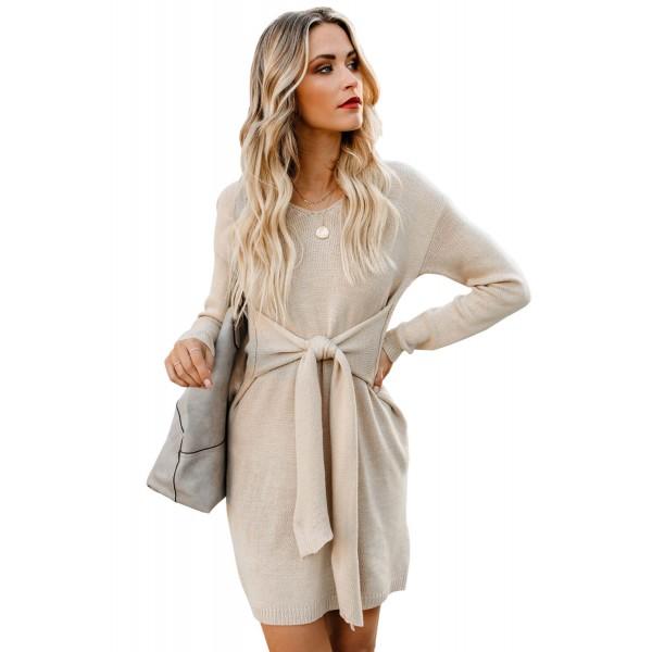 Apricot Dont Let Me Go Tie Sweater Dress
