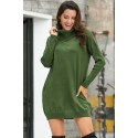 Army Green Ribbed Cowl Neck Lightweight Sweater Dress
