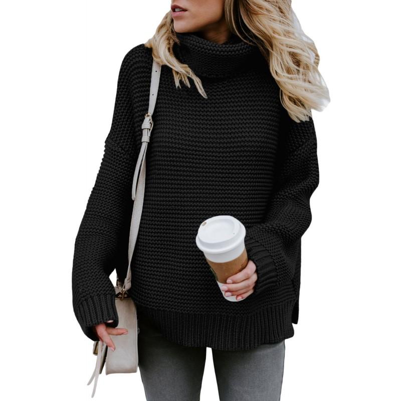 Black Cozy Long Sleeves Turtleneck Sweater