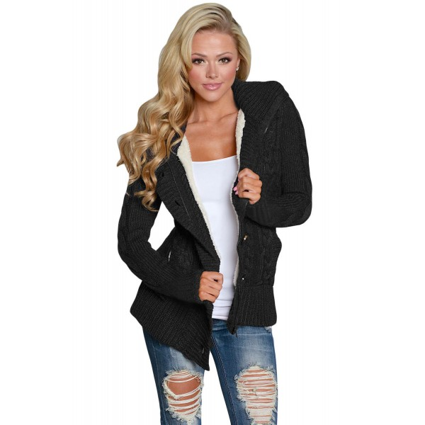 Black Long Sleeve Button-up Hooded Cardigans