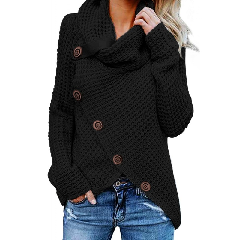 Black Buttoned Wrap Turtleneck Sweater