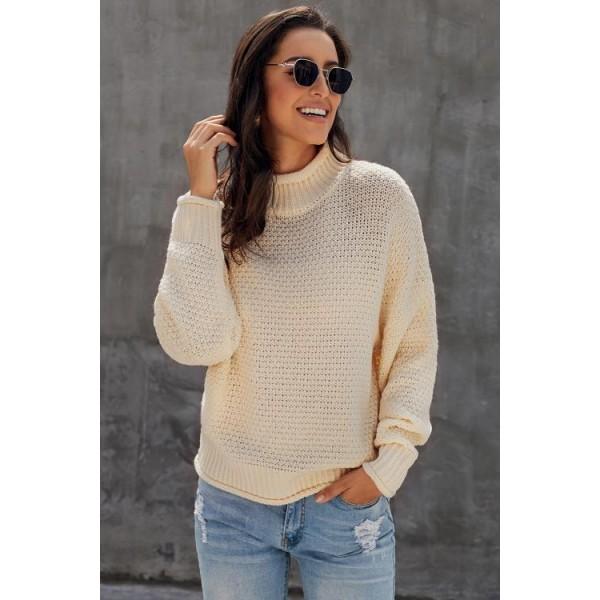 Beige Oversized Chunky Batwing Long Sleeve Turtleneck Sweater