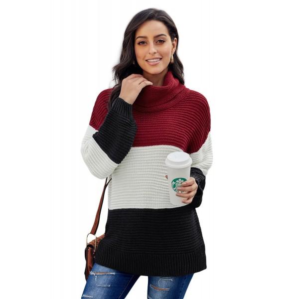 Black Turtleneck Color Block Pullover Sweater