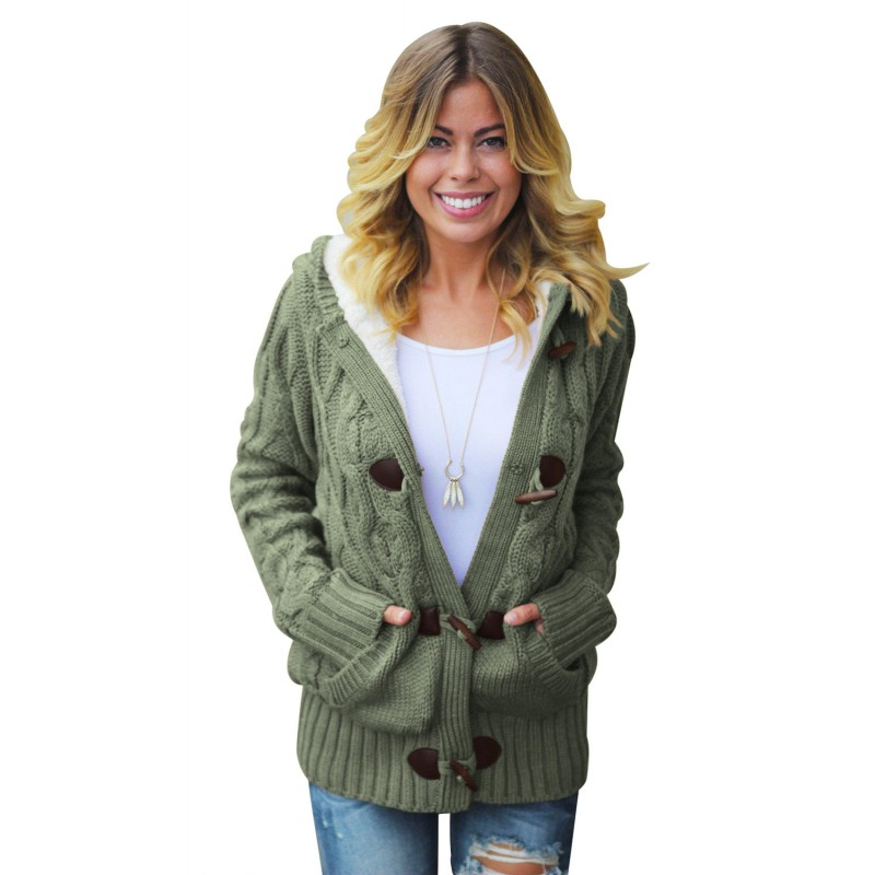 Army Green Fur Hood Horn Button Sweater Cardigan